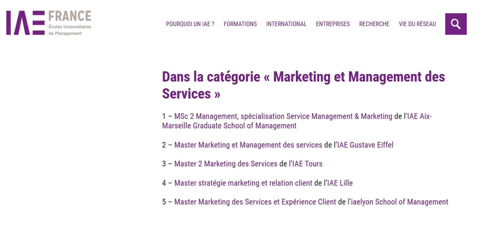 Classement SMBG - Master marketing - IAE Tours